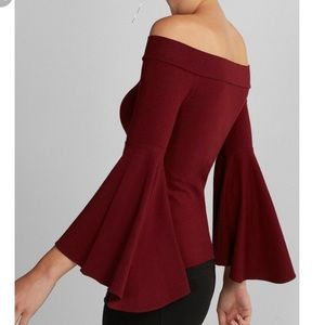 Express fitted off the shoulder top